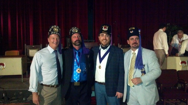 Samis also welcomed three Monarchs. Pictured are Pro. Bob Melvin, Jr., of Abaca Grotto; Pro. David Hinton, of Samis Grotto; Pro. George Hindson, of Ubar Grotto; and Pro. Victor Mann, of Azim Grotto.