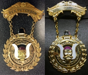 The original Cyrus jewel, depicted at left, compared to the reproduction jewel, at right.